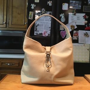 D&B Cream Pebbled Leather Logo Lock Hobo Bag